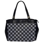 Modern Dots In Squares Mosaic Black White Office Handbags
