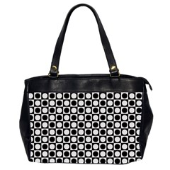 Modern Dots In Squares Mosaic Black White Office Handbags (2 Sides)  by EDDArt
