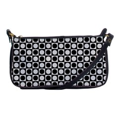 Modern Dots In Squares Mosaic Black White Shoulder Clutch Bags by EDDArt