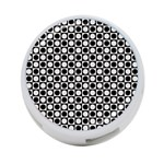 Modern Dots In Squares Mosaic Black White 4-Port USB Hub (Two Sides)