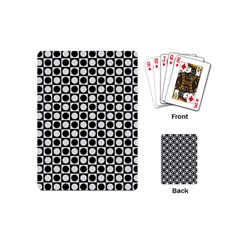 Modern Dots In Squares Mosaic Black White Playing Cards (mini)  by EDDArt