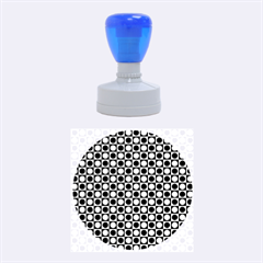 Modern Dots In Squares Mosaic Black White Rubber Round Stamps (medium) by EDDArt