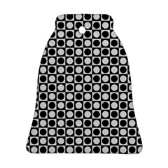 Modern Dots In Squares Mosaic Black White Ornament (bell)  by EDDArt