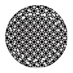 Modern Dots In Squares Mosaic Black White Round Filigree Ornament (2side) by EDDArt