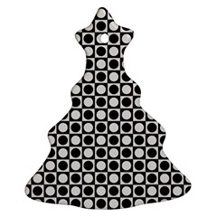 Modern Dots In Squares Mosaic Black White Christmas Tree Ornament (2 Sides) by EDDArt