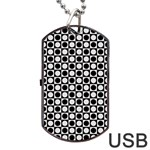 Modern Dots In Squares Mosaic Black White Dog Tag USB Flash (Two Sides)