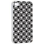 Modern Dots In Squares Mosaic Black White Apple iPhone 4/4s Seamless Case (White)