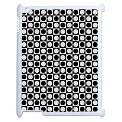 Modern Dots In Squares Mosaic Black White Apple Ipad 2 Case (white) by EDDArt