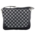 Modern Dots In Squares Mosaic Black White Messenger Bags