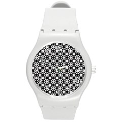 Modern Dots In Squares Mosaic Black White Round Plastic Sport Watch (m) by EDDArt