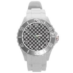 Modern Dots In Squares Mosaic Black White Round Plastic Sport Watch (l) by EDDArt