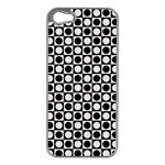Modern Dots In Squares Mosaic Black White Apple iPhone 5 Case (Silver)