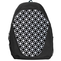 Modern Dots In Squares Mosaic Black White Backpack Bag by EDDArt