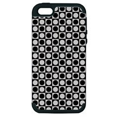 Modern Dots In Squares Mosaic Black White Apple Iphone 5 Hardshell Case (pc+silicone) by EDDArt