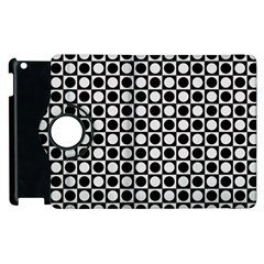 Modern Dots In Squares Mosaic Black White Apple Ipad 3/4 Flip 360 Case by EDDArt