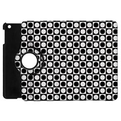 Modern Dots In Squares Mosaic Black White Apple Ipad Mini Flip 360 Case by EDDArt