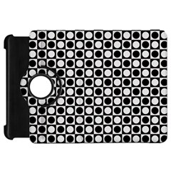 Modern Dots In Squares Mosaic Black White Kindle Fire Hd Flip 360 Case by EDDArt