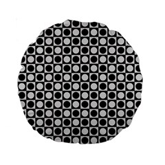 Modern Dots In Squares Mosaic Black White Standard 15  Premium Round Cushions by EDDArt