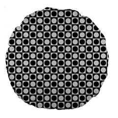 Modern Dots In Squares Mosaic Black White Large 18  Premium Round Cushions by EDDArt
