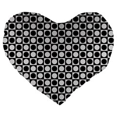 Modern Dots In Squares Mosaic Black White Large 19  Premium Heart Shape Cushions by EDDArt