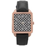 Modern Dots In Squares Mosaic Black White Rose Gold Leather Watch