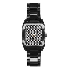 Modern Dots In Squares Mosaic Black White Stainless Steel Barrel Watch by EDDArt