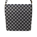 Modern Dots In Squares Mosaic Black White Flap Messenger Bag (L)