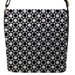 Modern Dots In Squares Mosaic Black White Flap Messenger Bag (S)