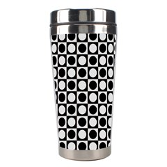 Modern Dots In Squares Mosaic Black White Stainless Steel Travel Tumblers by EDDArt