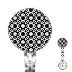 Modern Dots In Squares Mosaic Black White Stainless Steel Nurses Watch by EDDArt