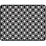 Modern Dots In Squares Mosaic Black White Double Sided Fleece Blanket (Medium)
