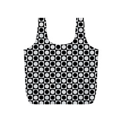 Modern Dots In Squares Mosaic Black White Full Print Recycle Bags (s)  by EDDArt