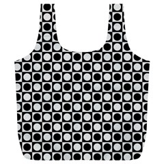 Modern Dots In Squares Mosaic Black White Full Print Recycle Bags (l)  by EDDArt