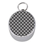 Modern Dots In Squares Mosaic Black White Mini Silver Compasses