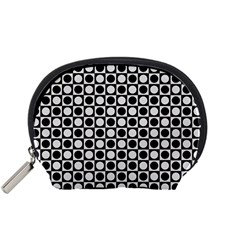 Modern Dots In Squares Mosaic Black White Accessory Pouches (small)  by EDDArt