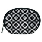 Modern Dots In Squares Mosaic Black White Accessory Pouches (Medium)