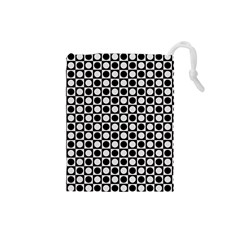 Modern Dots In Squares Mosaic Black White Drawstring Pouches (small)  by EDDArt