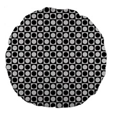 Modern Dots In Squares Mosaic Black White Large 18  Premium Flano Round Cushions by EDDArt