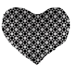 Modern Dots In Squares Mosaic Black White Large 19  Premium Flano Heart Shape Cushions by EDDArt