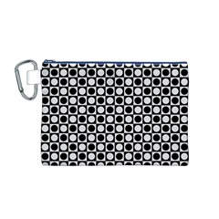 Modern Dots In Squares Mosaic Black White Canvas Cosmetic Bag (m) by EDDArt