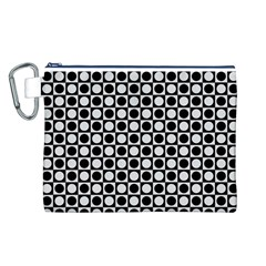 Modern Dots In Squares Mosaic Black White Canvas Cosmetic Bag (l) by EDDArt