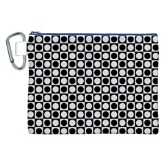 Modern Dots In Squares Mosaic Black White Canvas Cosmetic Bag (xxl) by EDDArt