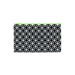 Modern Dots In Squares Mosaic Black White Cosmetic Bag (xs) by EDDArt