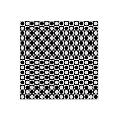 Modern Dots In Squares Mosaic Black White Satin Bandana Scarf by EDDArt