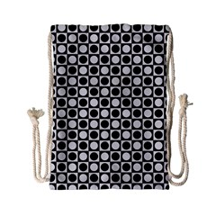 Modern Dots In Squares Mosaic Black White Drawstring Bag (small) by EDDArt