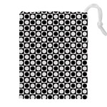 Modern Dots In Squares Mosaic Black White Drawstring Pouches (XXL)