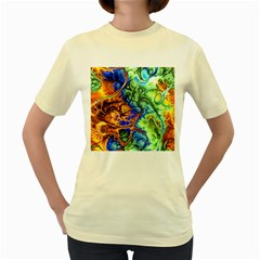 Abstract Fractal Batik Art Green Blue Brown Women s Yellow T Shirt by EDDArt
