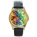 Abstract Fractal Batik Art Green Blue Brown Round Gold Metal Watch