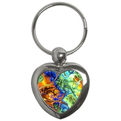 Abstract Fractal Batik Art Green Blue Brown Key Chains (heart)  by EDDArt
