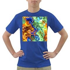 Abstract Fractal Batik Art Green Blue Brown Dark T Shirt by EDDArt